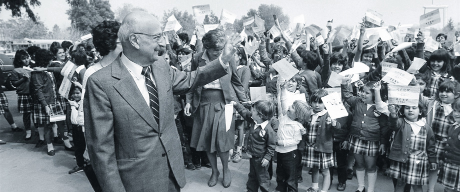 Alex Manoogian, fifth President of AGBU, 1953-1989, at the Manoogian-Demirdjian school, one of the many educational institutions he established and supported.